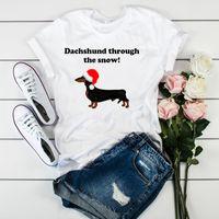 рождественская одежда для женской собаки оптовых-Женщины Graphic Through The Snow Dog Cartoon Печать Рождество Tshirt Женские женщины Ladies Top Одежда T Tee Shirt Tshirt