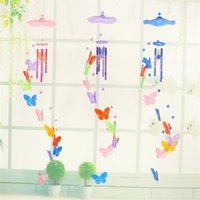 Wholesale winding toys resale online - Hanging Bedroom Butterfly Ornament Wind Chime Colors Kids Windbell Toys For Children Day Party Favors cx E1