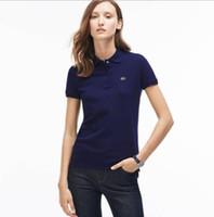 ingrosso abbigliamento britannico di moda-T-shirt di moda da donna sottile e attillata in cotone solido a pois con maniche corte in stile britannico