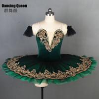 серебряное платье один ремешок оптовых-Новое поступление! Amazing Deep green балетная пачка для балерины Женщины Девушки балетные танцевальные костюмы Блин Блюдо пачки Bll090