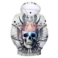 cráneos de la ropa de las mujeres al por mayor-Moda Corona Cráneo Sudaderas con capucha 3D Pullover Manga larga deporte hip hop hombres mujeres Sudadera con capucha ropa Sudadera con capucha 3D 4XL