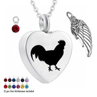 Wholesale chicken wings resale online - Urn Necklaces for Ash Chicken Cremation Heart Memorial Pendant Piece Birthstone and wings Necklace for Ashes