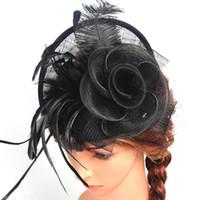 hüte federnetze großhandel-Lady Girl Mini Hut Feder Haarspange + Mesh Net Fascinator Haarschmuck