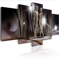 Wholesale No Frame Set HD Moder Personality Abstract Golden Touch Art Print Frameless Canvas Painting Wall Picture Home Decoration