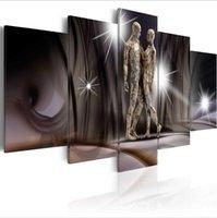 arte moderna venda por atacado-(Sem Moldura) 5 Pçs / set HD Moder Personalidade Abstrato Toque de Ouro Impressão Da Arte Da Lona Sem Moldura Pintura Retrato Da Parede de Decoração Para Casa