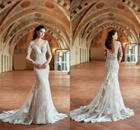 Wholesale sexy wedding dresses for sale - 2019 Scoop Neck Lace Mermaid Wedding Dresses Sheer Long Sleeves Lace Backless Sweep Train Arabic Wedding Bridal Gowns