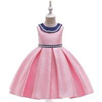 kragen für ballkleider großhandel-Umlegekragen Mädchenkleider mit handgenähten Perlen Dekoration Baumwollmischungen Material A-Linie Faltenrock Ballkleid