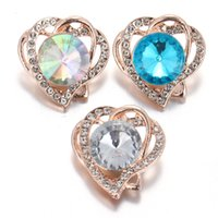 pulseira de ouro rosa venda por atacado-Rosa de ouro mais novo Snap Jóias De Cristal coração de Metal 18 MM Snap Botões Fit DIY Pulseiras OEM Pulseiras Para As Mulheres brindes