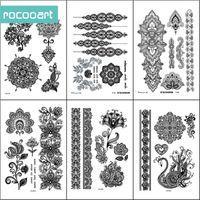 armband tattoos designs großhandel-Schwarz Weiß Henna Körperfarben Temporäre Tätowierung Designs (Packung mit 6 Blatt) Mandala Flower Armband Henna Hände Tattoo Aufkleber