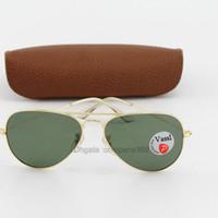 marco 62 al por mayor-Diseñador de la marca gafas de sol polarizadas Marco de oro clásico Lente de resina verde Hombres Gafas de sol Vassl 58/62 mm Lente para elegir con caja marrón