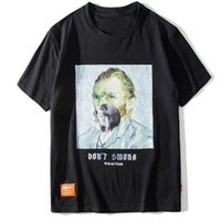 tshirts street style achat en gros de-Drôle fumeurs Van Gogh T-shirts Streetwear Harajuku Style Hommes Hip Hop Street T-shirts 2019 Mode Été Mâle Tops Tee