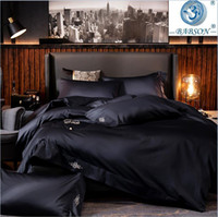 Wholesale egyptian cotton sheets resale online - Black egyptian cotton Bedding sets Queen King size Embroidery Bed Duvet cover Bed sheets fitted sheet linen set hotel bed set T200706