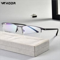 Wholesale optical spring hinges resale online - Ultralight Business Men s Optical Glasses Frames for Myopia Semi Frame Spring Hinge Prescription Eyewear Glasses Frame F612