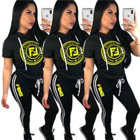 Wholesale women s hoodie tracksuit online – oversize Women F Letter Printed Tracksuit Summer Short Sleeve Hoodies T shirt Pants Pieces Set with Sidestripe Sportswear Outfits Joggers Set B4151