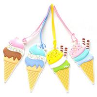 etiquetas de crema al por mayor-Cartoon Ice Cream Maleta Equipaje Etiqueta de Silicona Para Bolsas Accesorios Etiqueta Maleta Equipaje Etiquetas Etiqueta de Bolsa de Envío Identificador
