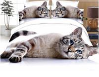 gato adulto set venda por atacado-3D Cat Bedding Set Capa de Edredão Fronhas Comforter Full Size 4 pcs
