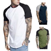 футболки мужские тонкие оптовых-Мужские футболки с цветными панелями Лето с коротким рукавом Мужские топы с круглым вырезом Мода Slim Мужская одежда