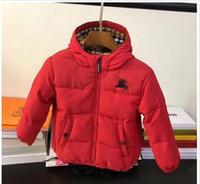 ingrosso giacche invernali lunghe bambini-vendita calda autunno Inverno nuovi stili di marca B bambini giacca a maniche lunghe plaid spessore caldo cappotto con cerniera ragazze di alta qualità in cotone con cappuccio giù cappotto