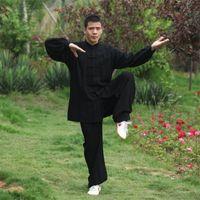 xxl kung fu jacke großhandel-Hochwertige chinesische Tai Chi Kung Fu Wing Chun Kampfkunst Anzug Mäntel Jacke Uniform Kostüm C028 Schwarz Weiß Blau Grau