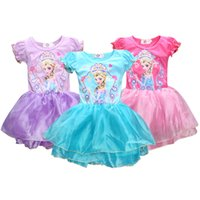 kızlar frozen tutu toptan satış-Dondurulmuş kızlar elbiseler çocuk prenses elbise Pettiskirt parti performans çocuklar yaz fener kol bir tutu parça 100 cm-140 cm