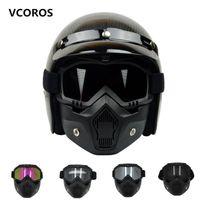 vespa kask xl toptan satış-Yeni VCOROS Modüler Maske Ayrılabilir Gözlük Ve Ağız Filtre Açık Yüz vintage Motosiklet Kaskları Coolplay maske için Mükemmel