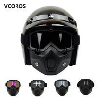 ingrosso casco pieno aperto-Nuova maschera modulare VCOROS Occhiali rimovibili e filtro bocca perfetti per Open Face Caschi moto vintage Maschera Coolplay