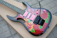gitarlar tremolo china toptan satış-Çin RG77 Steve Vai Gitar Çiçek Desen Elektrik Gitar Yeşil Asma Klavye Kakma Siyah Floyd Rose Tremolo HSH Pembe Transfer