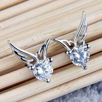 Stud Earrings Wholesale 925 Sterling Silver Zircon Angel Wing Shaped Ear Studs Earrings