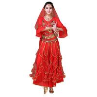 ropa india de las mujeres al por mayor-Traje de danza del vientre clásico de las mujeres de Bollywood Danza del vientre ropa de vestimenta india trajes de baile oriental 8 unids DC1756
