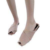 модные туфли для рыбалки оптовых-MUQGEW Fashion Home Женские тапочки в полоску Fish Mouth Mother Shoes Модные женские сандалии летние плоские сандалии богемные тапочки
