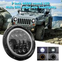pulgadas de faros led redondos al por mayor-9-30V 400W 7 Inch Car Truck Impermeable LED redondo Faro Angel Eye DRL Light