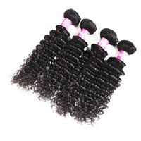 18 zoll peruanische webart großhandel-Deep Wave Hair Extensions 3 Bundles Natürliche Farbe Peruanisches Malaysisches 100% reines Menschenhaar Spinnt 8-28 Zoll