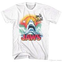 tom de filme venda por atacado-Jaws Praia Tubarão Airbrush Grafitti T-Shirt dos homens Pulverizador Tom Grande Filme Branco