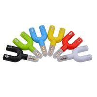 Wholesale y earphone splitter resale online - 3 mm Audio Jack Plug to Earphone Microphone Y Splitter Cable Cord Adapter Plug for MP3 Phones