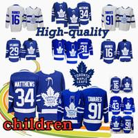 hockey jerseys оптовых-МОЛОДЕЖЬ Торонто Мэйпл Лифс Хоккей Джерси 91 Джон Таварес 16 Митч Марнер 34 Остон Мэтьюз 29 Уильям Ниландер 43 Jerseys