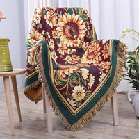 Wholesale tapestry cotton resale online - Fashion Flower Thick Cotton Blanket Travel Plane Tassel Tapestry Sofa Chair Cover Decor