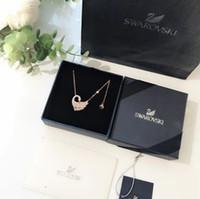 kuğu şekli toptan satış-Kadın Kolyesi High-end Serisi Kalp Şeklinde Swan S925 Gümüş Kaplama Kalın Altın Gül