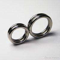 doppelring keuschheit großhandel-Metall Männliche Verzögerung Keuschheit Cock Ring Edelstahl Doppel Penis Ring Verhindern Erektion Keuschheit Anhaltende Ring Sex Toys