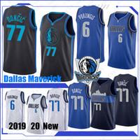 camisetas de baloncesto 41 al por mayor-Dallas Mavericks NCAA 77 Jerseys de baloncesto Luka Doncic College 6 Kristaps Porzingis 41 Dirk Nowitzki Donovan 100% Cosido 2019 Nuevo