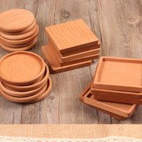 Wholesale wood coaster holder resale online - NEW Wood Coasters Wooden Wooden Heat Insulated Pad Tea Cup Pads Insulated Drinking Mats Teapot Table mat cup holder LX81