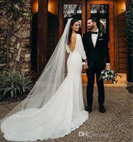 Wholesale design wedding dresses for sale - Group buy Simple Design Winter Wedding Dresses Country Long Sleeve Backless Mermaid Sweep Train Spandex Bridal Gown Customize Plus Size