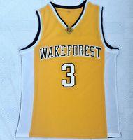 chaleco de baloncesto amarillo al por mayor-NCAA Wake Forest University 3 Paul Yellow Jerseys de baloncesto bordados para hombres