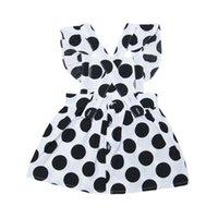 vestido branco preto pontos crianças venda por atacado-Crianças de verão Meninas Vestido de Algodão Casuais Sem Mangas Cinta Preto E Branco Dot Vestido de Impressão Traje Do Bebê Crianças Vestidos Sem Encosto