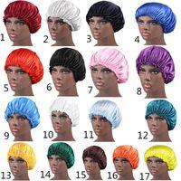 Wholesale night cap hat resale online - New Solid Color Silk Satin Night Hat Women Head Cover Sleep Caps Bonnet Hair Care Fashion Accessories