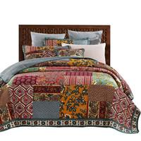 одеяло ручной работы оптовых-Американский лоскутное покрывало одеяло Набор 3 шт. старинные стеганые постельные принадлежности ручной работы одеяла покрывала Король Королева Полный размер покрывало