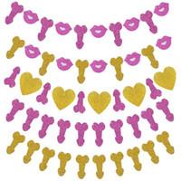 ingrosso decorazioni rosa di forma cuore-Labbra a forma di cuore bandiera Golden Pink Papery Wedding Bachelorette Party Decoration Bardian Fashion Nuovo Banner Decor Hot Sale 5jgD1