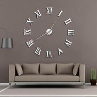Wholesale big 3d art resale online - Modern DIY Large Wall Clock D Mirror Surface Sticker Home Decor Art Giant Wall Clock Watch With Roman Numerals Big