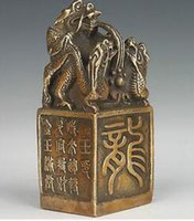 bronz dragon heykelleri toptan satış-VINTAGE ÇIN KOLEKSİYONLARI EL YAPIMI DÖKÜM BRONZ HEYKELİ DRAGON