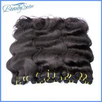 6a insan saçı vücut dalgası toptan satış-Beautysister saç ürünleri toptan ucuz 6a brezilyalı virgin İnsan saç uzantıları örgüleri vücut dalga tarzı mix 1 kg 20 paketler doğal siyah
