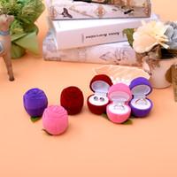 caixas de jóias rosa roxo venda por atacado-[Ddisplay] veludo rosa forma anel rosa caixa de jóias de casamento personalizado Anéis Vermelhos Em Pé Titular Roxo Brinco Studs Titular Caso Jóias
